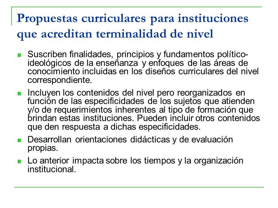 Propuestas curriculares para instituciones que acreditan terminalidad de nivel