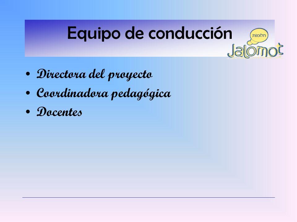 Equipo de conducción Directora del proyecto Coordinadora pedagógica