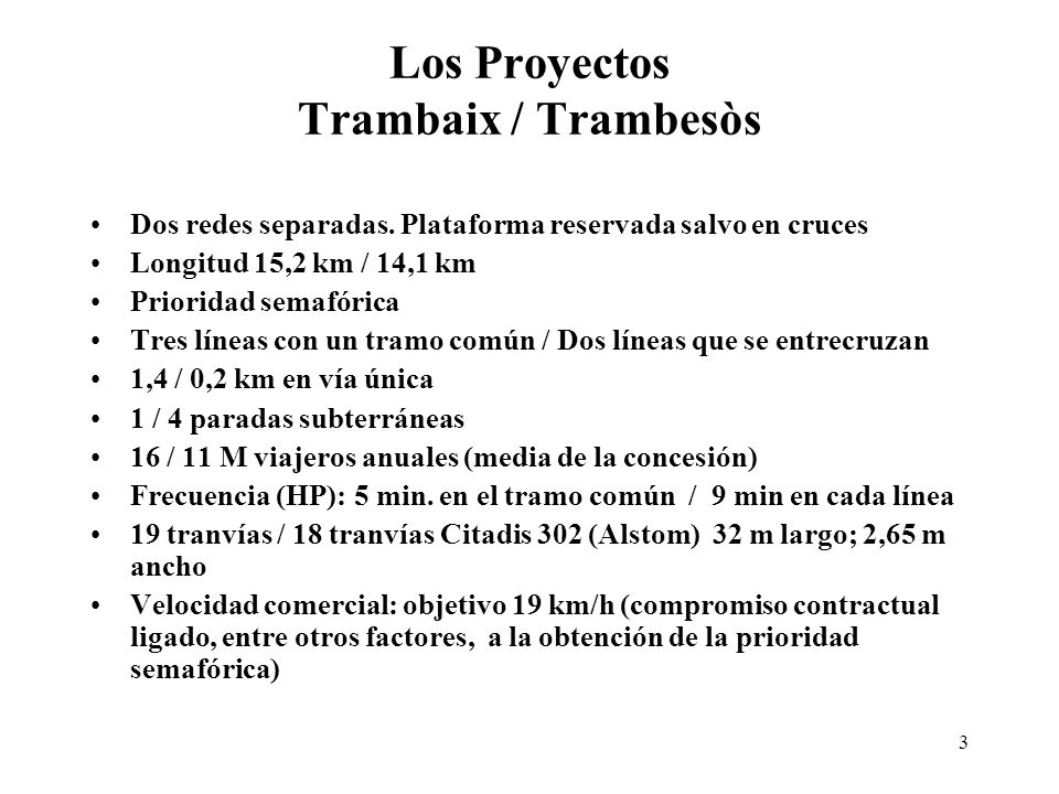 Los Proyectos Trambaix / Trambesòs
