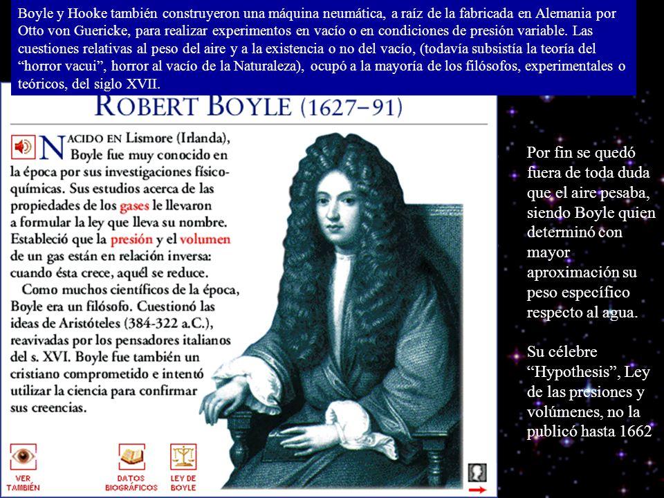 Boyle y Hooke también construyeron una máquina neumática, a raíz de la fabricada en Alemania por Otto von Guericke, para realizar experimentos en vacío o en condiciones de presión variable. Las cuestiones relativas al peso del aire y a la existencia o no del vacío, (todavía subsistía la teoría del horror vacui , horror al vacío de la Naturaleza), ocupó a la mayoría de los filósofos, experimentales o teóricos, del siglo XVII.