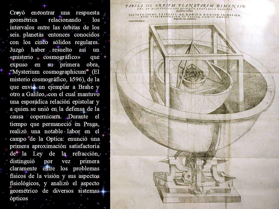 Creyó encontrar una respuesta geométrica relacionando los intervalos entre las órbitas de los seis planetas entonces conocidos con los cinco sólidos regulares.