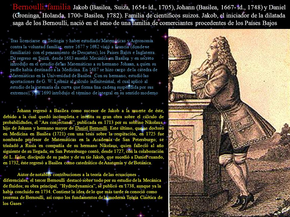 Bernoulli, familia Jakob (Basilea, Suiza, 1654- id