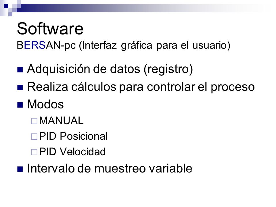 Software BERSAN-pc (Interfaz gráfica para el usuario)