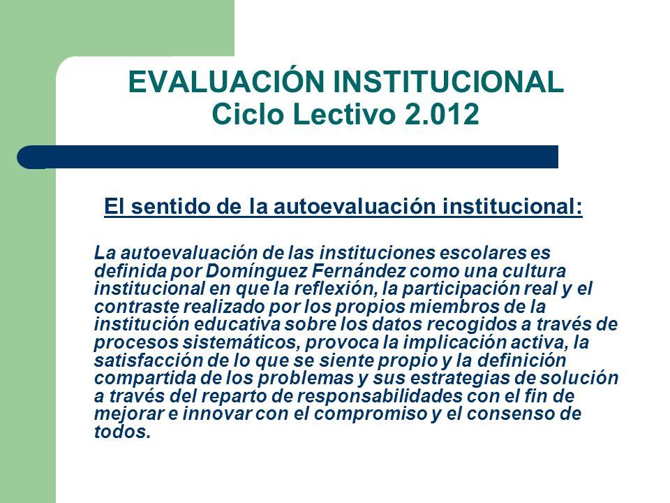 EVALUACIÓN INSTITUCIONAL Ciclo Lectivo 2.012