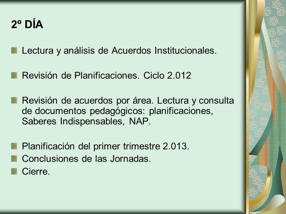 2º DÍA Lectura y análisis de Acuerdos Institucionales.