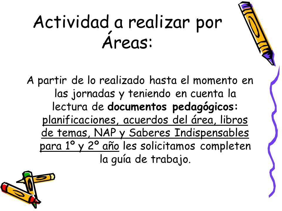 Actividad a realizar por Áreas: