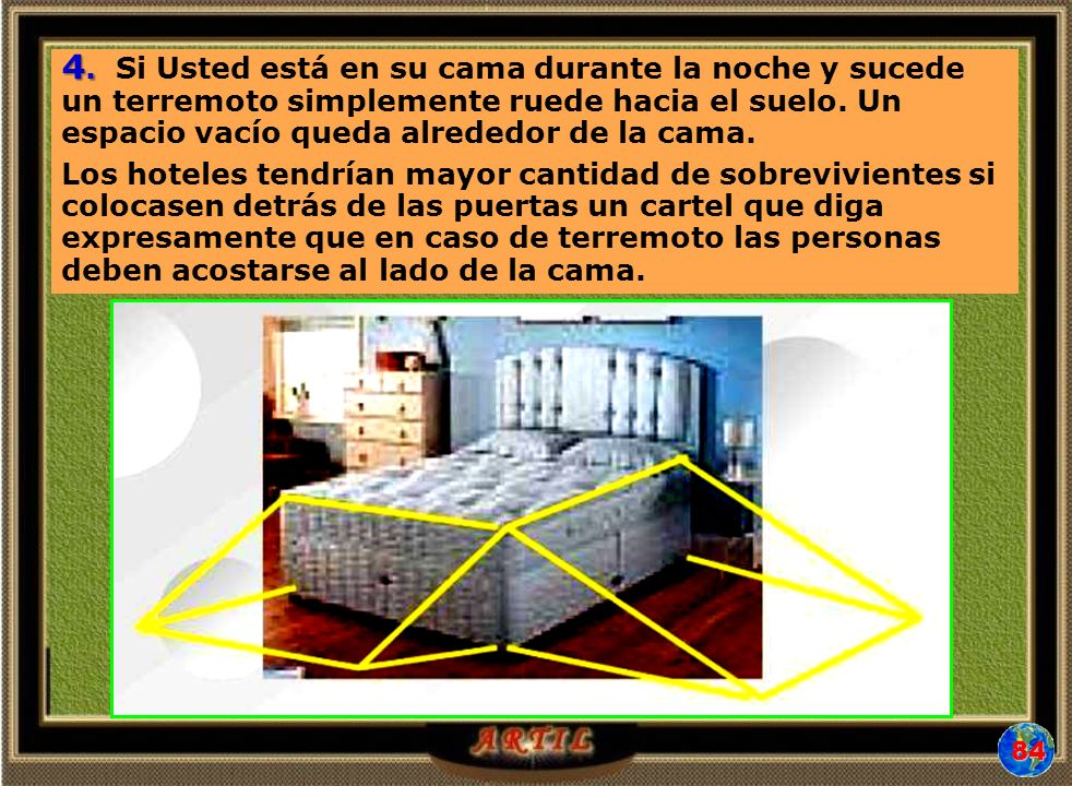 4. Si Usted está en su cama durante la noche y sucede un terremoto simplemente ruede hacia el suelo. Un espacio vacío queda alrededor de la cama.
