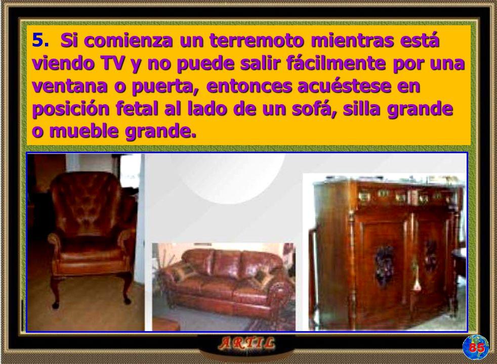 5. Si comienza un terremoto mientras está viendo TV y no puede salir fácilmente por una ventana o puerta, entonces acuéstese en posición fetal al lado de un sofá, silla grande o mueble grande.