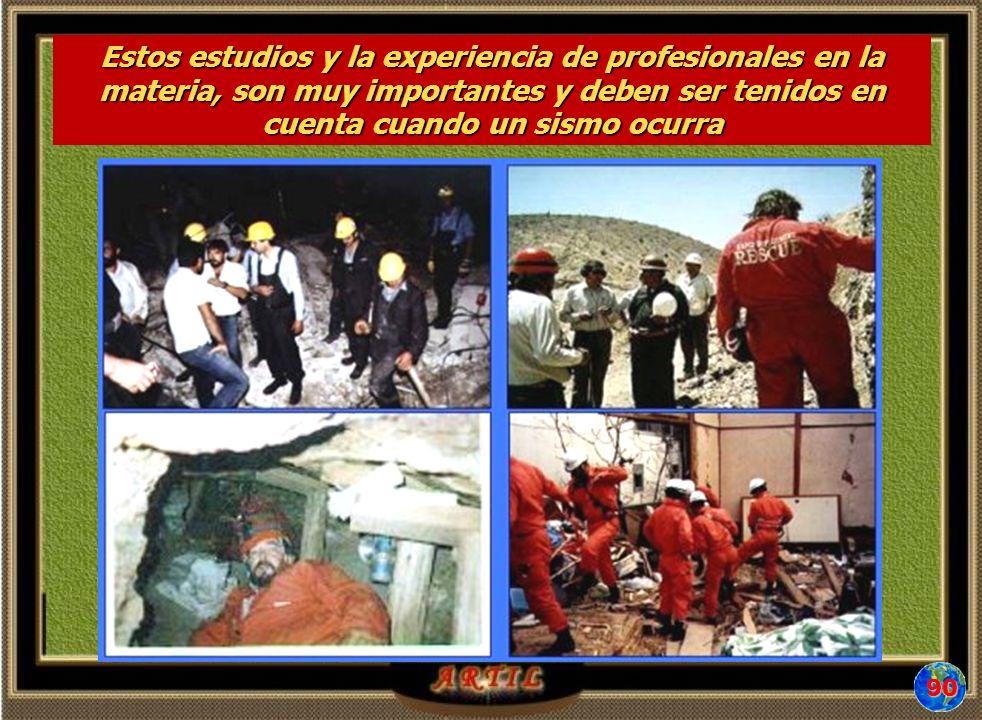 Estos estudios y la experiencia de profesionales en la materia, son muy importantes y deben ser tenidos en cuenta cuando un sismo ocurra