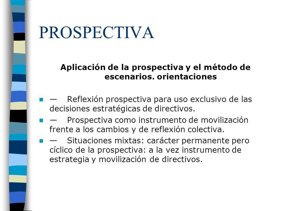 Aplicación de la prospectiva y el método de escenarios. orientaciones