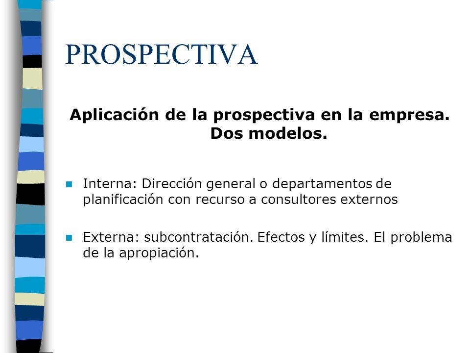 Aplicación de la prospectiva en la empresa. Dos modelos.