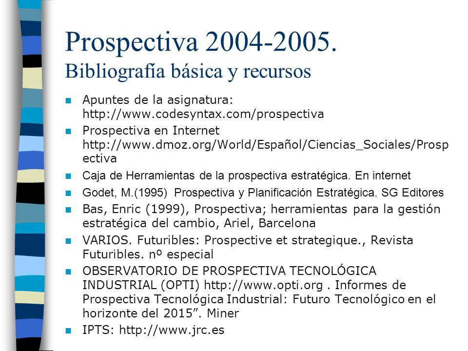 Prospectiva 2004-2005. Bibliografía básica y recursos
