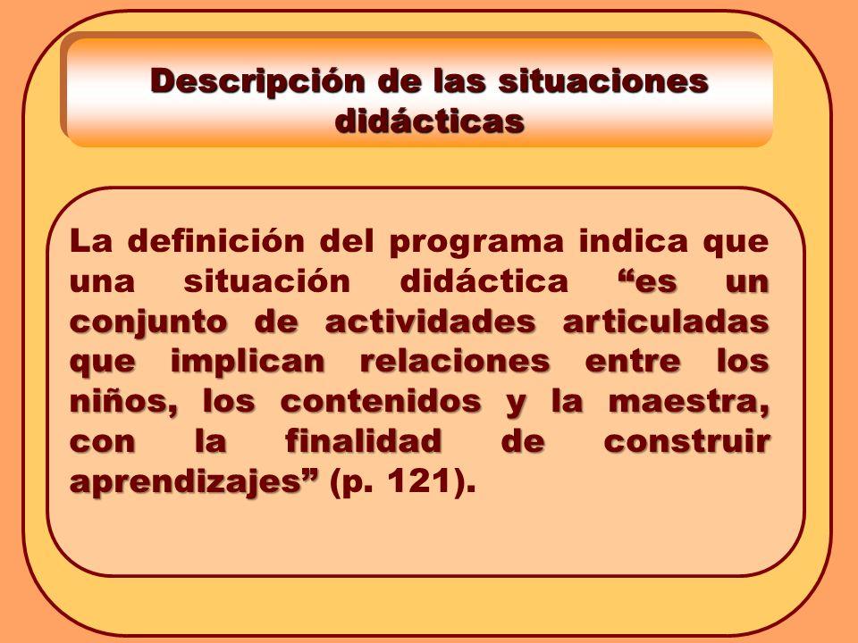 Descripción de las situaciones didácticas