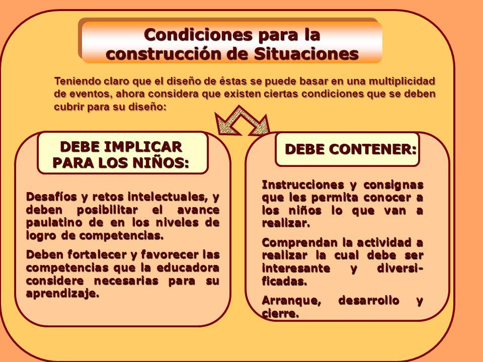Condiciones para la construcción de Situaciones