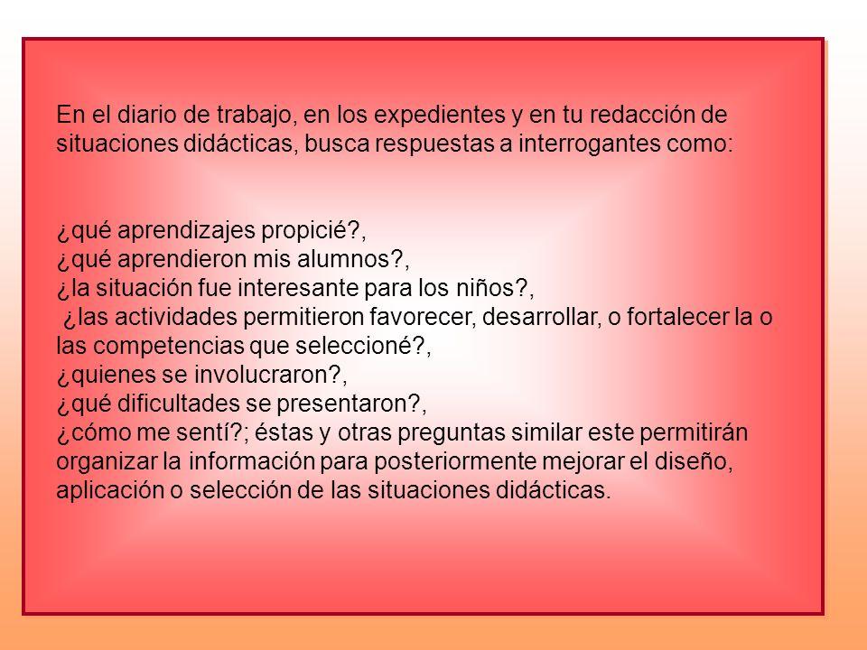 En el diario de trabajo, en los expedientes y en tu redacción de situaciones didácticas, busca respuestas a interrogantes como: