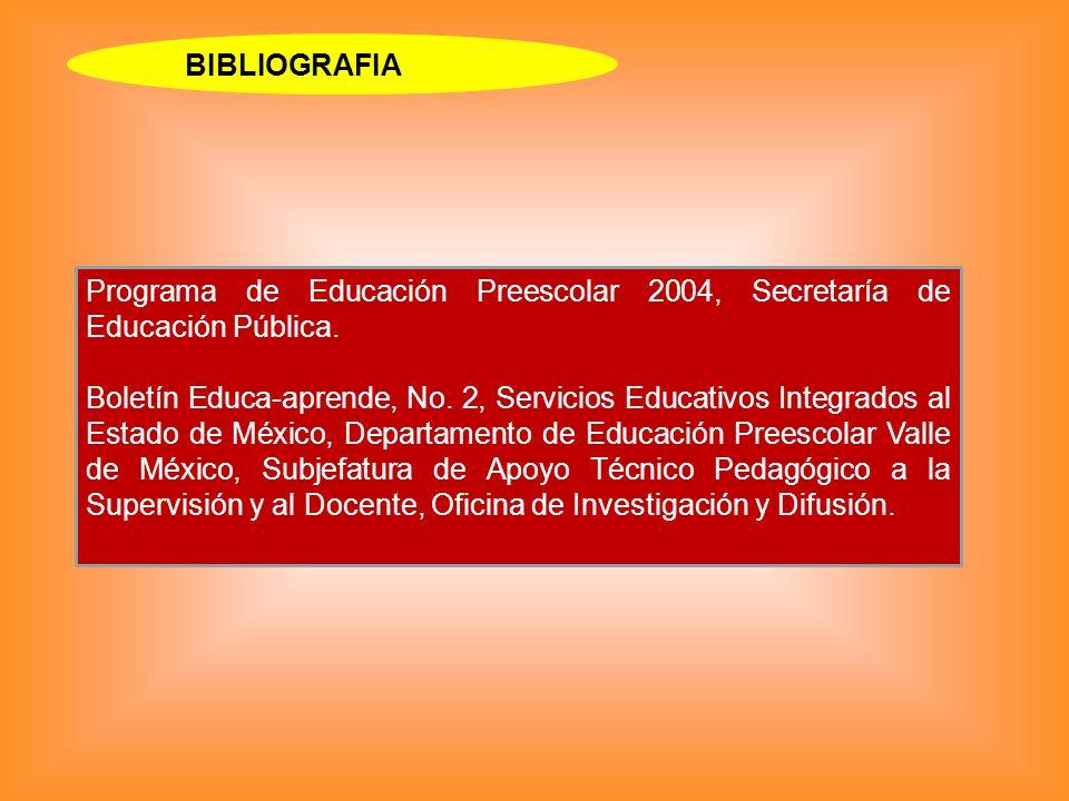 BIBLIOGRAFIA Programa de Educación Preescolar 2004, Secretaría de Educación Pública.