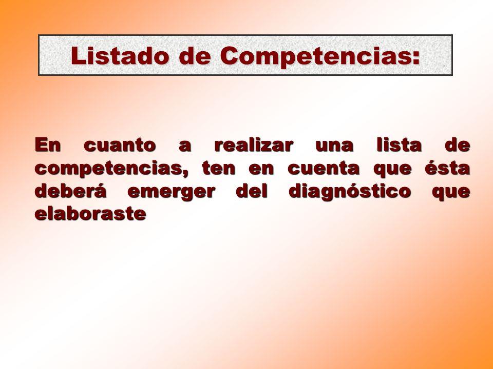 Listado de Competencias: