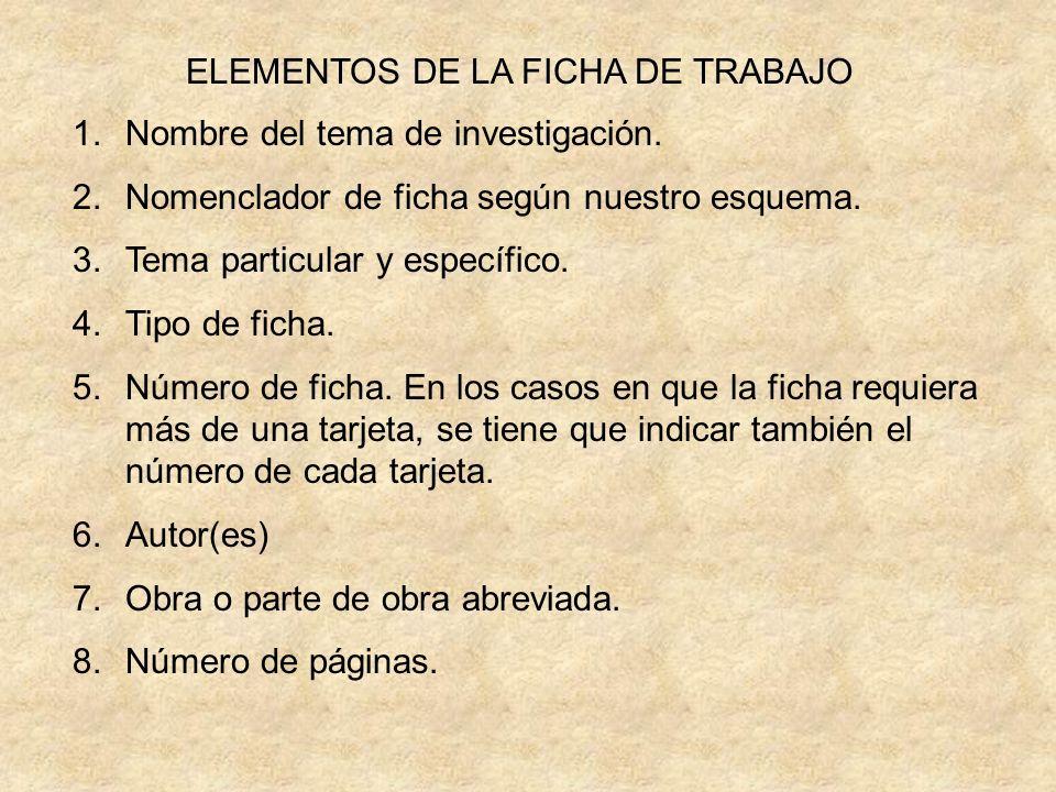 ELEMENTOS DE LA FICHA DE TRABAJO