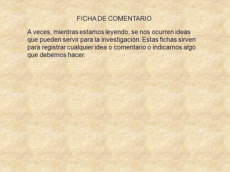 FICHA DE COMENTARIO