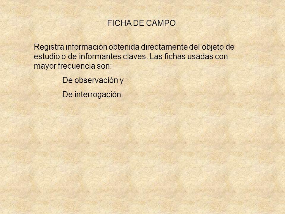 FICHA DE CAMPO Registra información obtenida directamente del objeto de estudio o de informantes claves. Las fichas usadas con mayor frecuencia son: