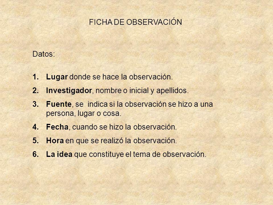 FICHA DE OBSERVACIÓN Datos: Lugar donde se hace la observación. Investigador, nombre o inicial y apellidos.