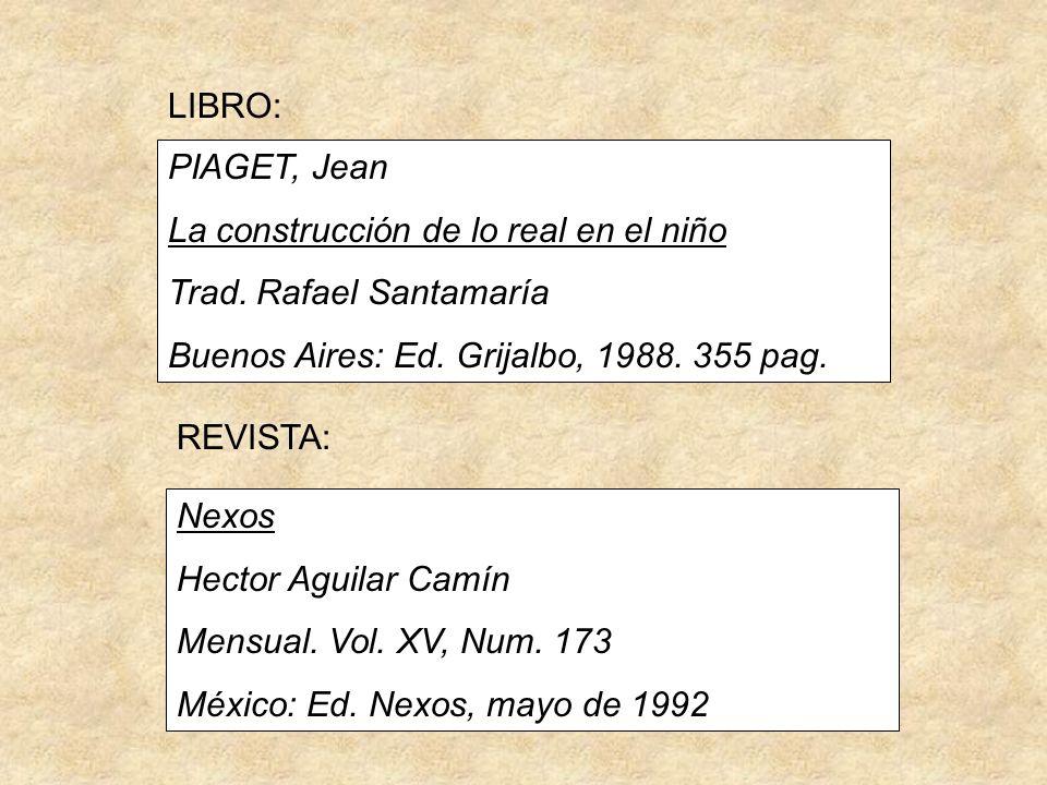 LIBRO: PIAGET, Jean. La construcción de lo real en el niño. Trad. Rafael Santamaría. Buenos Aires: Ed. Grijalbo, 1988. 355 pag.