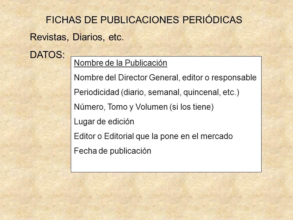 FICHAS DE PUBLICACIONES PERIÓDICAS