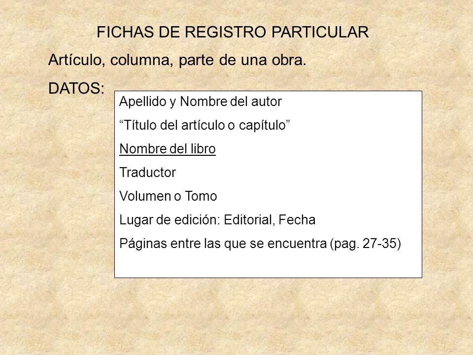 FICHAS DE REGISTRO PARTICULAR
