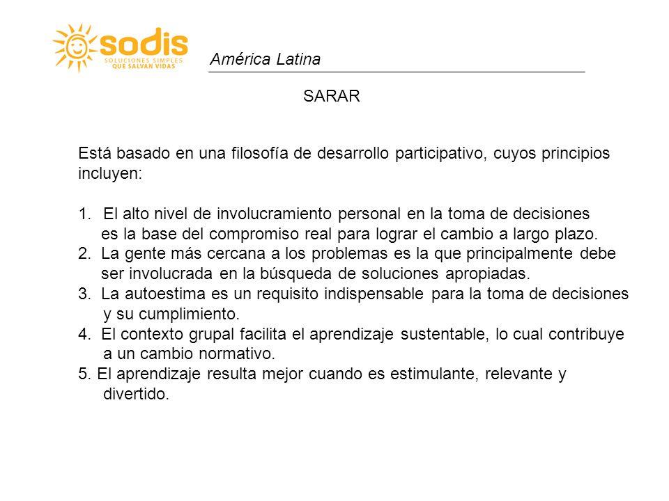 América Latina SARAR. Está basado en una filosofía de desarrollo participativo, cuyos principios. incluyen: