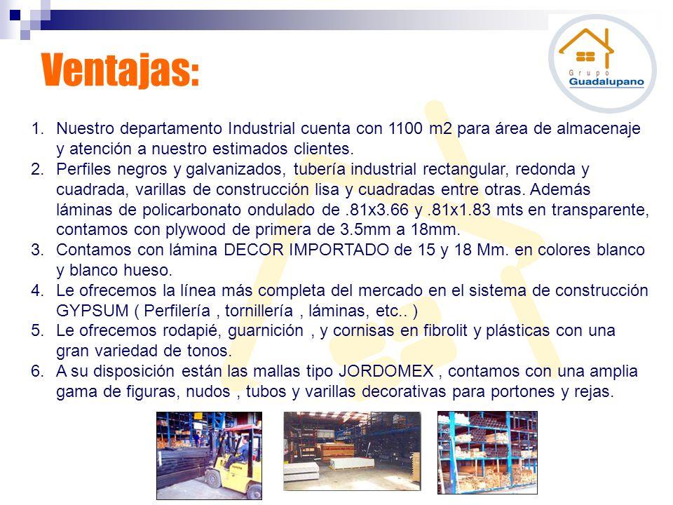 Ventajas: Nuestro departamento Industrial cuenta con 1100 m2 para área de almacenaje y atención a nuestro estimados clientes.