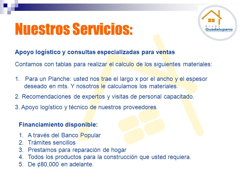 Nuestros Servicios: Apoyo logístico y consultas especializadas para ventas.