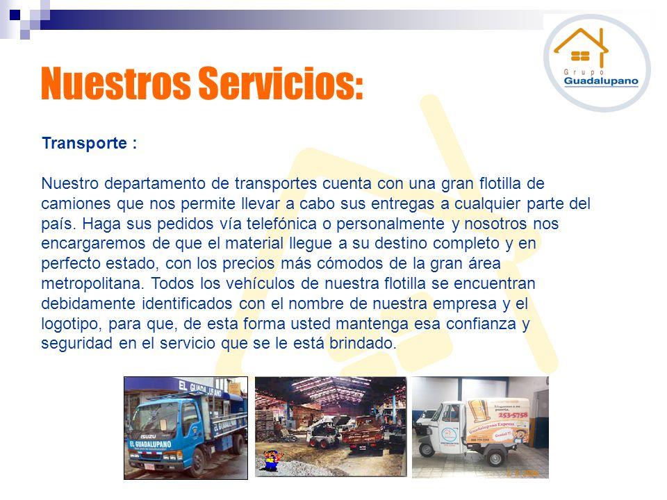 Nuestros Servicios: Transporte :