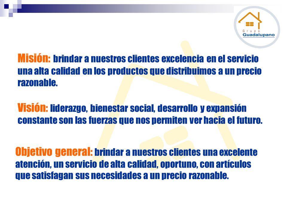 Misión: brindar a nuestros clientes excelencia en el servicio una alta calidad en los productos que distribuimos a un precio razonable.