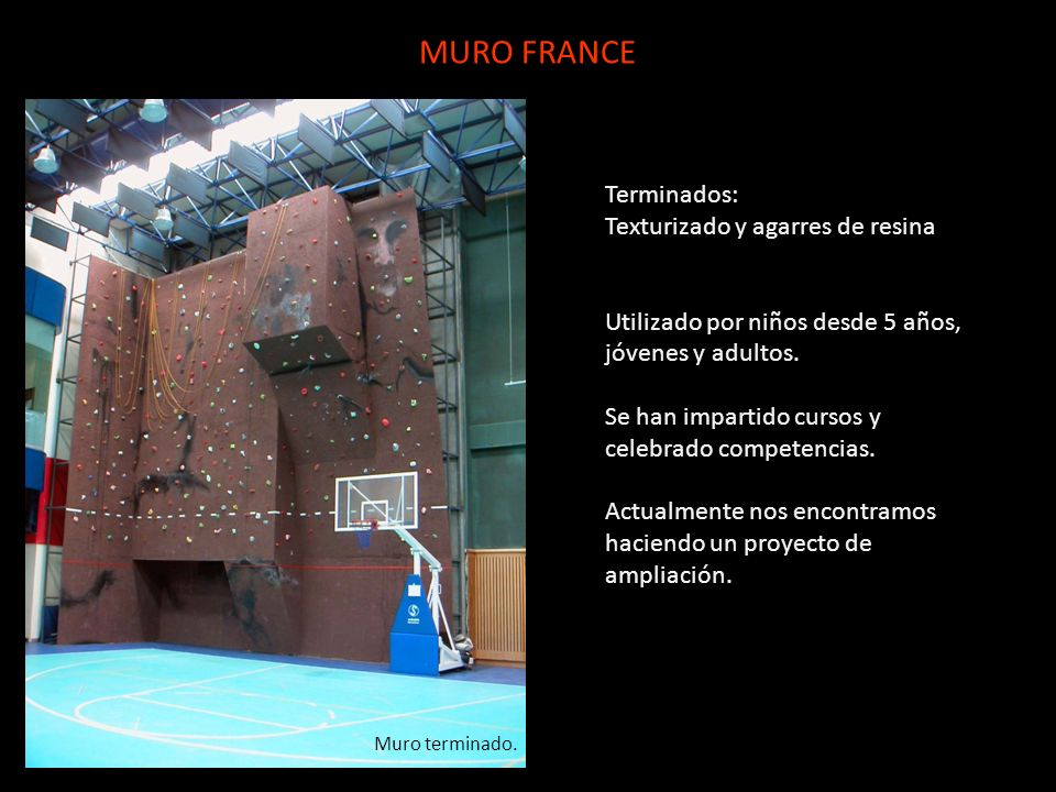 MURO FRANCE Terminados: Texturizado y agarres de resina