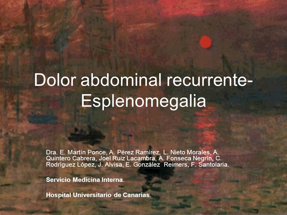 Dolor abdominal recurrente-Esplenomegalia
