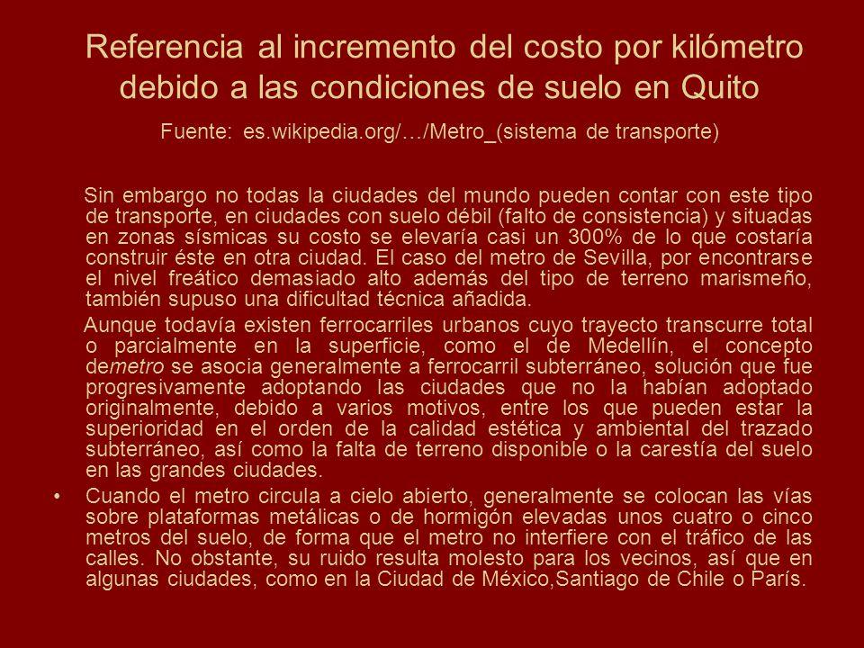 Referencia al incremento del costo por kilómetro debido a las condiciones de suelo en Quito Fuente: es.wikipedia.org/…/Metro_(sistema de transporte)