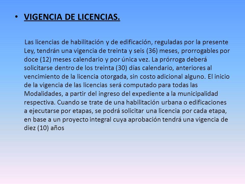VIGENCIA DE LICENCIAS.