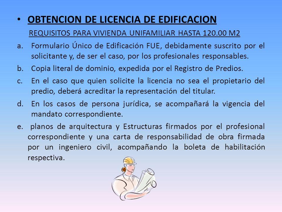 OBTENCION DE LICENCIA DE EDIFICACION