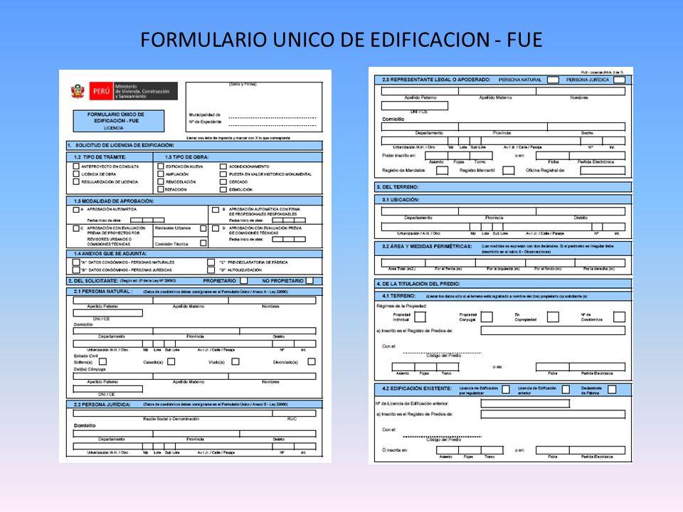 FORMULARIO UNICO DE EDIFICACION - FUE