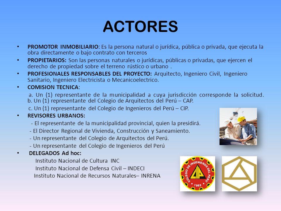 ACTORES PROMOTOR INMOBILIARIO: Es la persona natural o jurídica, pública o privada, que ejecuta la obra directamente o bajo contrato con terceros.