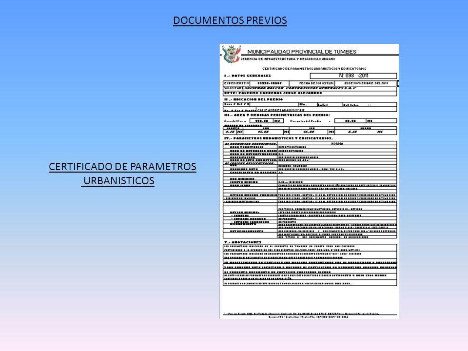 DOCUMENTOS PREVIOS CERTIFICADO DE PARAMETROS URBANISTICOS