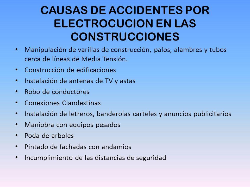 CAUSAS DE ACCIDENTES POR ELECTROCUCION EN LAS CONSTRUCCIONES