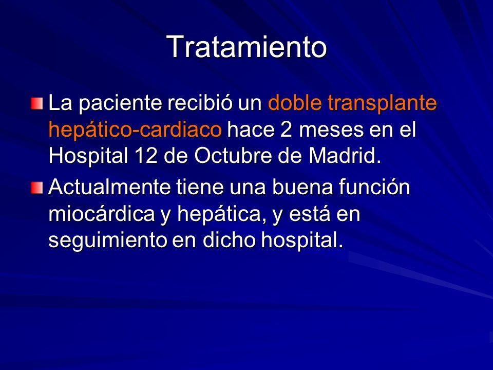 TratamientoLa paciente recibió un doble transplante hepático-cardiaco hace 2 meses en el Hospital 12 de Octubre de Madrid.