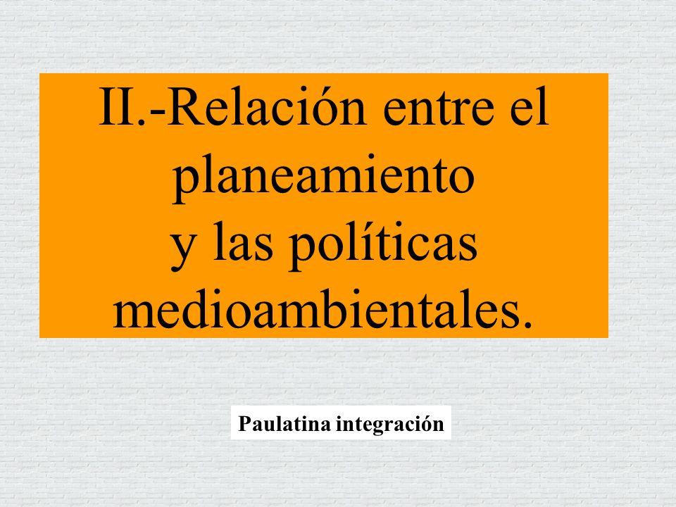 II.-Relación entre el planeamiento y las políticas medioambientales.