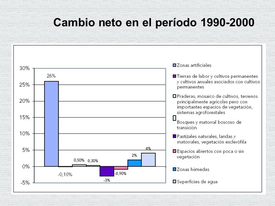 Cambio neto en el período 1990-2000