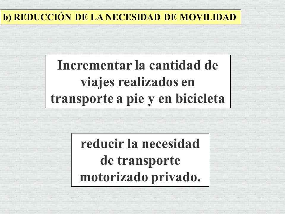 reducir la necesidad de transporte motorizado privado.