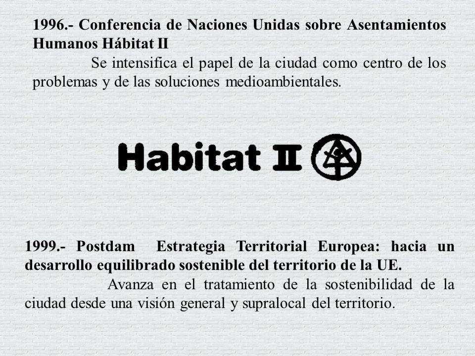 1996.- Conferencia de Naciones Unidas sobre Asentamientos Humanos Hábitat II