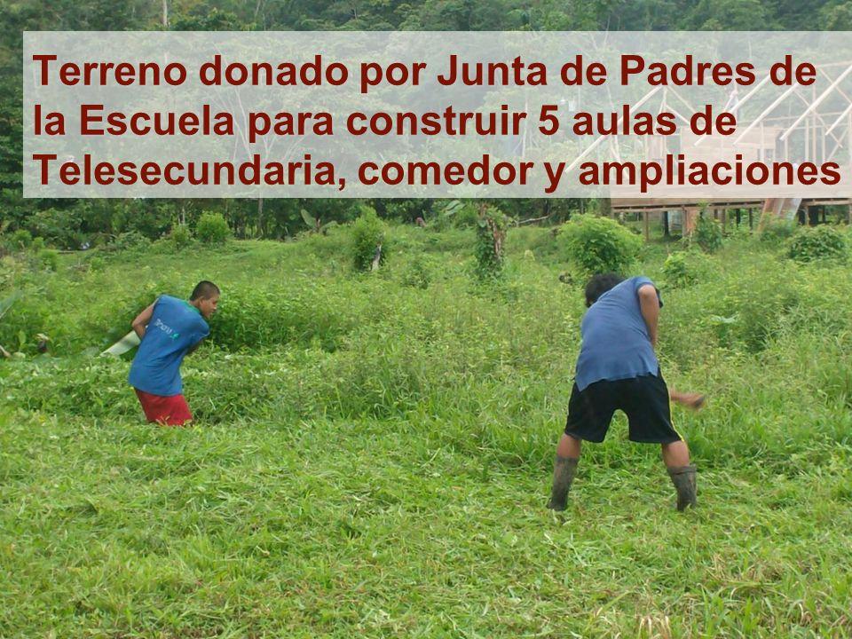 Terreno donado por Junta de Padres de la Escuela para construir 5 aulas de Telesecundaria, comedor y ampliaciones