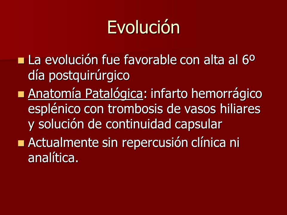 Evolución La evolución fue favorable con alta al 6º día postquirúrgico