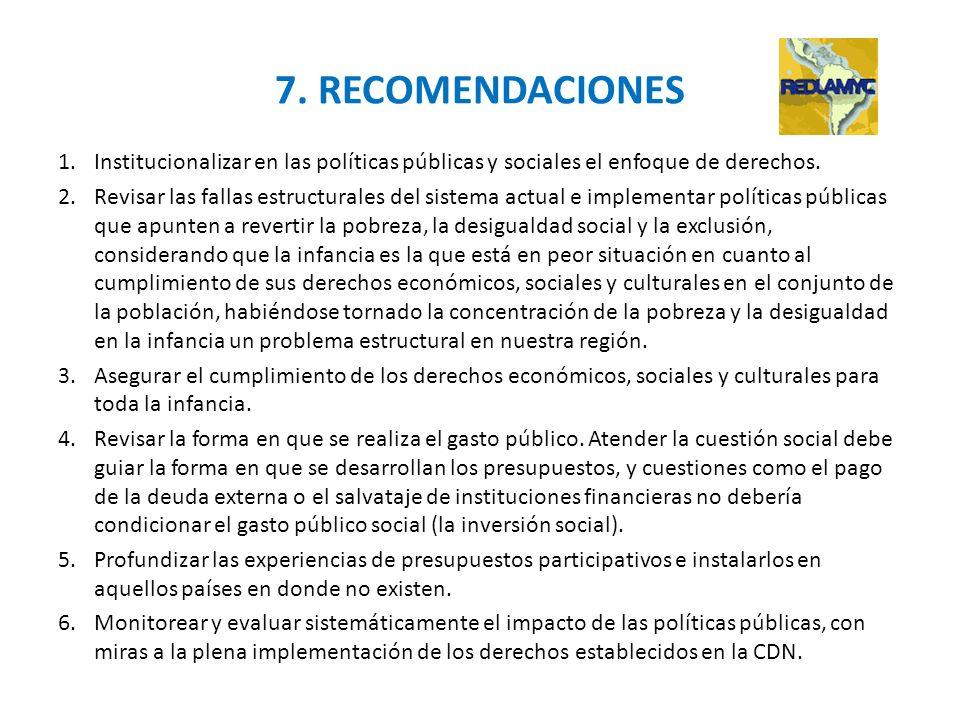 7. RECOMENDACIONES Institucionalizar en las políticas públicas y sociales el enfoque de derechos.